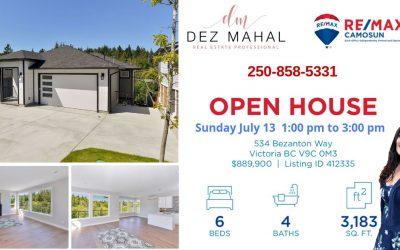 OPEN HOUSE – 534 BEZANTON WAY – July 13,  1:00PM – 3:00 PM