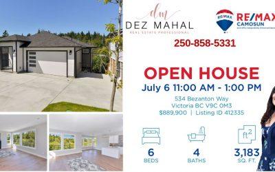 OPEN HOUSE – 534 BEZANTON WAY – July 6,  11:00 AM – 1:00 PM